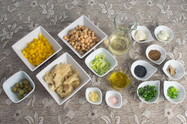 Ingredientes Bacalhau com Purê de Grão de Bico