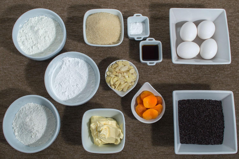 Ingredientes Brownie de Chocolate com Damascos